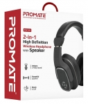 Promate Corvin 2-in-1 High Definition Bluetooth Overhead Wireless Headphone with Speaker - Black