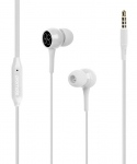 Promate BENT Dynamic In-Ear Stereo Wired Earphone with Built-In Microphone - White