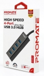 Promate EzHub-4 Ultra-Fast Portable USB 3.0 Hub with 4 Charge and Sync Ports - Black