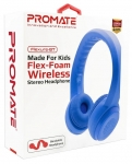 Promate FLEXURE-BT Wireless Bluetooth Overhead Stereo Flexible Headset with Volume Limitation - Blue