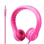Promate FLEXURE Lightweight Kid-Safe Foam Over Ear Wired Headset - Pink