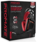 Promate KARMA Dynamic Audio Immersive Over-Ear Wired USB Gaming Headset - Red