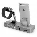Promate nuDock Professional 3-in-1 Power Station for Apple Watch, iPhone & USB Devices - Space Grey