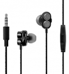 Promate ONYX Bass Boost Dual Driver In-Ear Earphones with Built-In Mic - Black