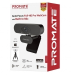 Promate ProCam-2 Auto Focus Full-HD Pro Webcam with Built-In Microphone - Black
