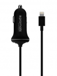Promate PROCHARGELT 2.1A Car Charger with Connected Lightning Cable - Black