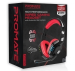 Promate Python Wired USB Overhead Gaming Headset with Microphone - Red