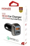 Promate SCUD-30 30W Car Charger with 2 USB Ports - Black