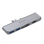 Promate SurfaceHub 6-In-1 Docking Station for Microsoft Surface Pro 7 - White/Grey - 1x HDMI, 2x USB-A
