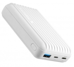 Promate TITAN-10C 10000mAh Dual Port USB Type-A & USB-C Fast Charging Powerbank - White