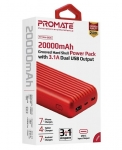 Promate TITAN-20C 20000mAh High-Capacity Power Bank with 3.1A Dual USB Output - Red