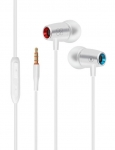 Promate TUNEBUDS-1 In-Ear Stereo Wired Earphones with Built-In Mic - White