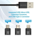 Promate UNILINK-TRIO 1.2m Micro USB, Lightning & USB-C Charge & Sync Cable - Grey