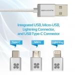 Promate UNILINK-TRIO 1.2m Micro USB, Lightning & USB-C Charge & Sync Cable - Silver