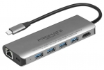 Promate UNIPORT-C USB-C Hub with USB-C Power Delivery, Ethernet & HDMI - Grey