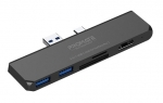 Promate SurfaceHub 6-in-1 Docking Station for Microsoft Surface Pro 7 - Black - 1x HDMI, 2x USB-A