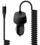 Promate VOLTRIP-C 3.4A Car Charger with Connected USB-C Cable & USB Port - Black