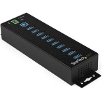 StarTech Industrial 10 Port USB Hub with Power Adapter & Surge Protection - Black