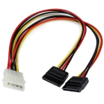 StarTech 12 Inch LP4 to 2x SATA Power Y Cable Adapter