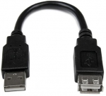 StarTech 15cm USB 2.0 USB Type-A Male to USB Type-A Female Extension Cable - Black