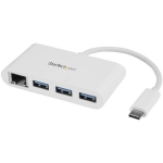 StarTech 3-Port USB-C 3.0 Hub with Gigabit Ethernet - White
