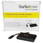 StarTech USB 3.0 USB-C to 4x USB Type-A Hub with Power Adapter - Black