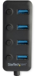 StarTech 4 Port USB 3.0 Bus Powered USB Hub with Individual On & Off Switches