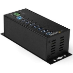StarTech Industrial 7 Port USB Hub with Power Adapter & Surge Protection - Black