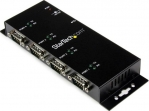 StarTech USB to 4 Port DB9 RS232 Serial Industrial Wall Mountable Adapter Hub