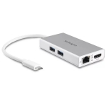 StarTech USB-C Travel Dock with Power Delivery - White - HDMI, RJ-45, 2x USB Type-A