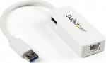 StarTech USB 3.0 to Gigabit Ethernet Adapter with USB Port - White