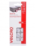 Velcro 16mm Stick On Hook & Loop Dots White - 15 Pack