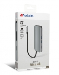 Verbatim 8-in-1 Type-C Hub with Power Delivery - Grey