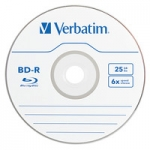 Verbatim BD-R 6X 25GB Branded Surface Blu-Ray Discs - 1 Pack with Jewel Case