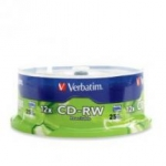 Verbatim CD-RW 4X-12X 700MB Branded Surface CD Discs - 25 Pack