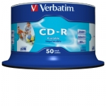 Verbatim CD-R 52X 700MB White Inkjet Printable CD Discs - 50 Pack
