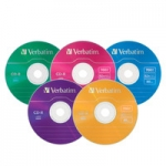 Verbatim CD-R 1X-4X 700MB Assorted Colours Branded Surface CD Discs - 5 Pack with Slim Case