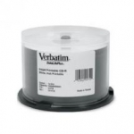 Verbatim CD-R 52X 700MB White Inkjet Hub Printable CD Discs - 50 Pack