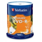 Verbatim DVD-R 16X 4.7GB White Inkjet Printable DVD Discs - 100 Pack