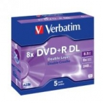 Verbatim DVD+R 8X 8.5GB Branded Surface DVD Discs - 5 Pack with Jewel Case