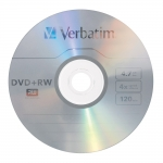 Verbatim DVD+RW 4X 4.7GB Branded Surface DVD Discs - 5 Pack with Jewel Case