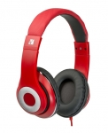 Verbatim Classic Overhead Wired Stereo Headphones with Microphone - Red