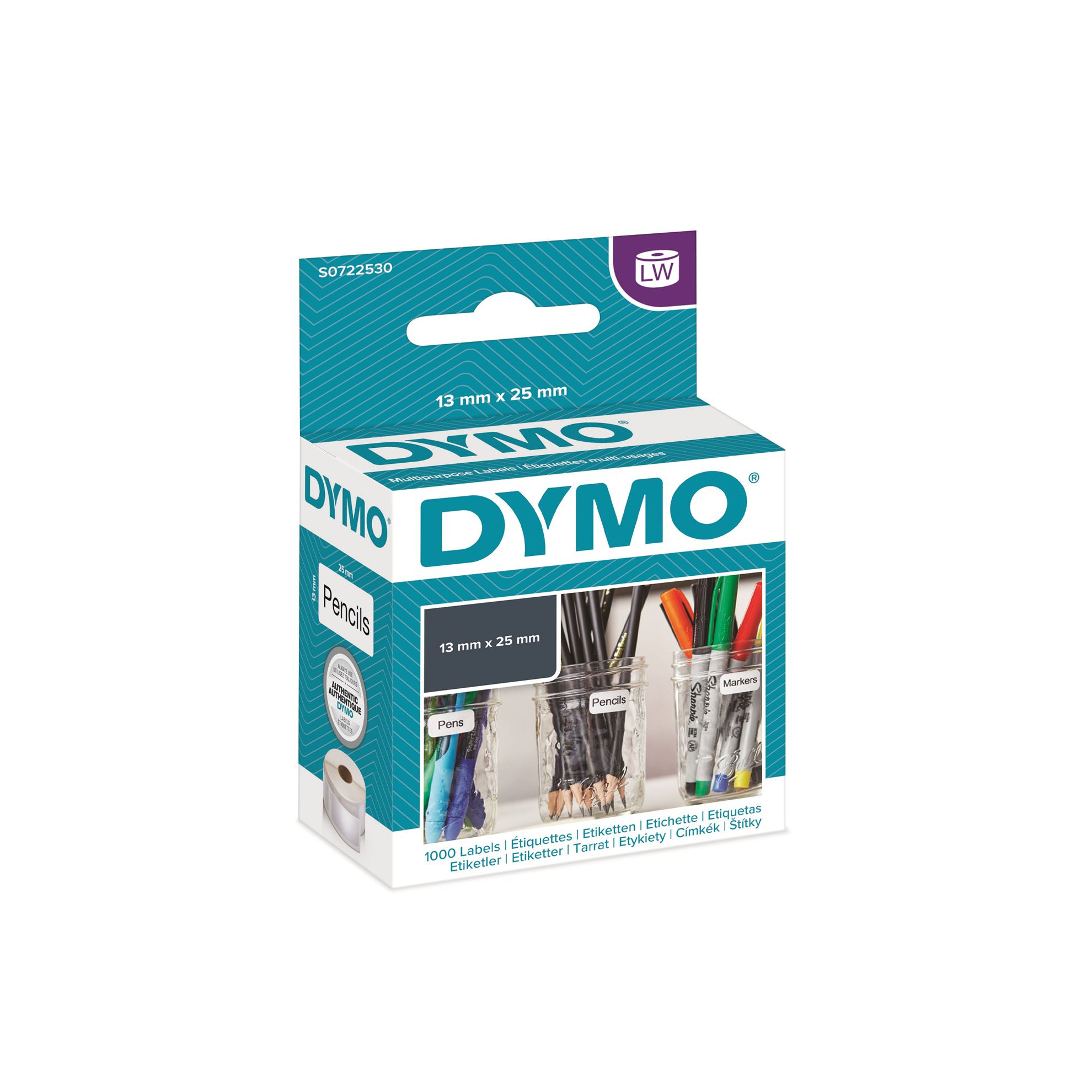 DYMO LW 13mm x 25mm Black on White 2 Up Multi-Purpose Label Roll