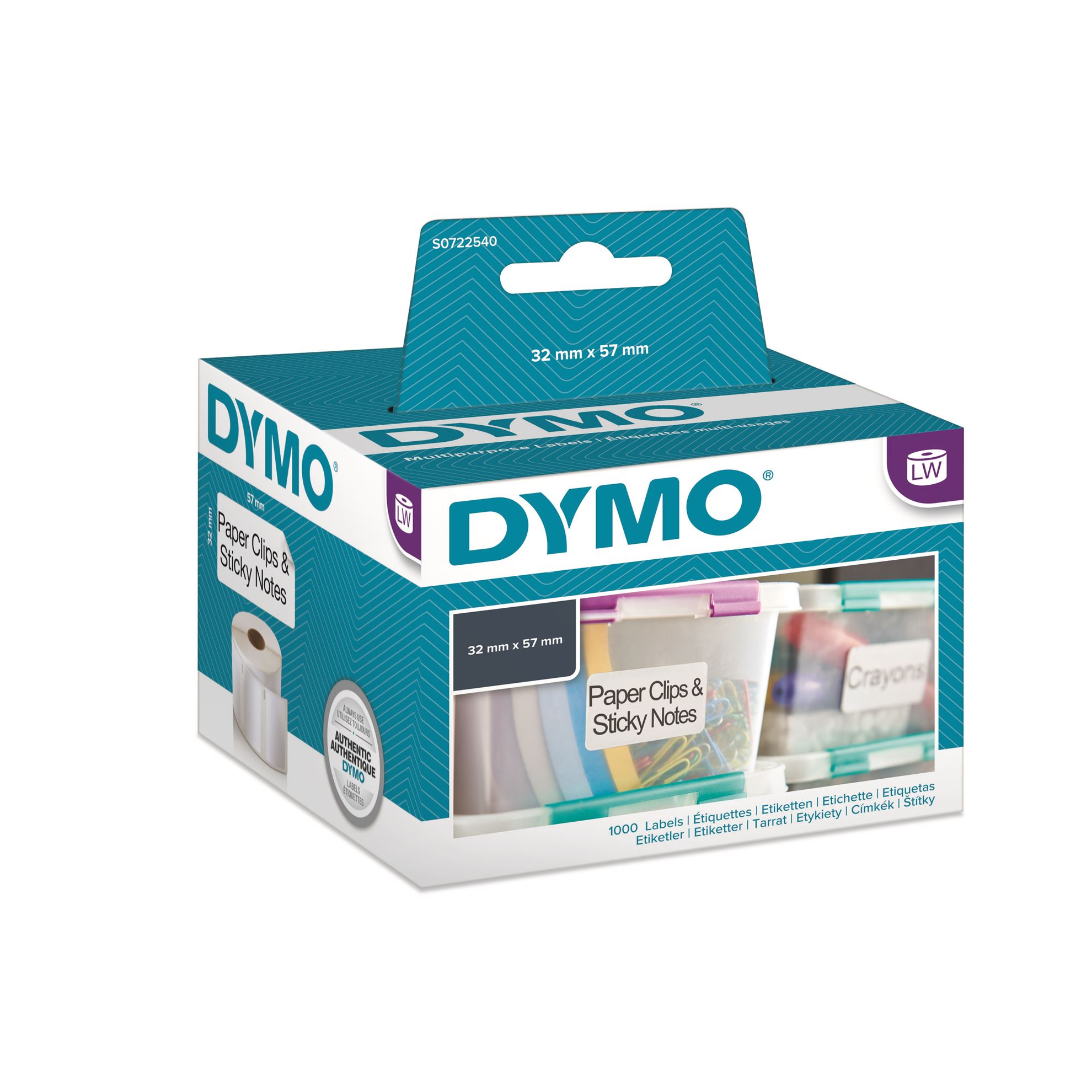 DYMO LW 57mm x 32mm Black on White Shipping Address Label Roll