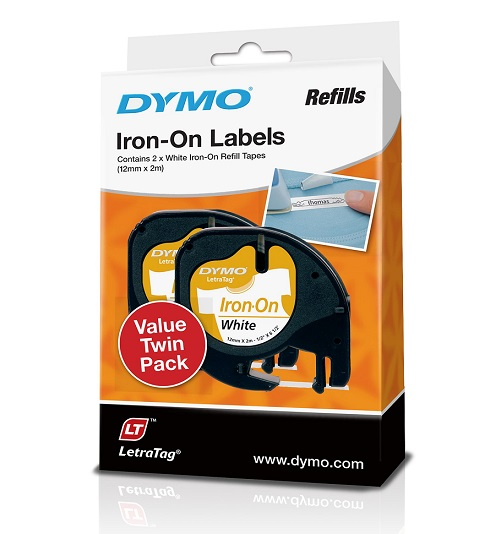 Dymo 12mm Genuine LetraTag Iron-On Labels White - 2 Pack