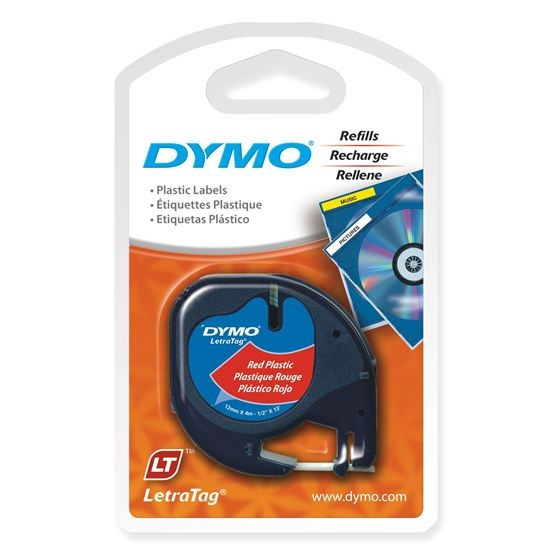 Dymo 12mm Genuine LetraTag Plastic Tape Labels - Black on Red