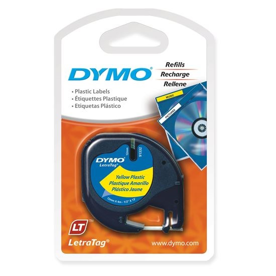 Dymo 12mm Genuine LetraTag Plastic Tape Labels - Black on Yellow