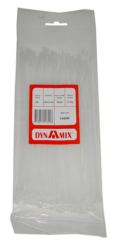 Dynamix 200mm x 2.5mm Cable Ties - 100 Pack