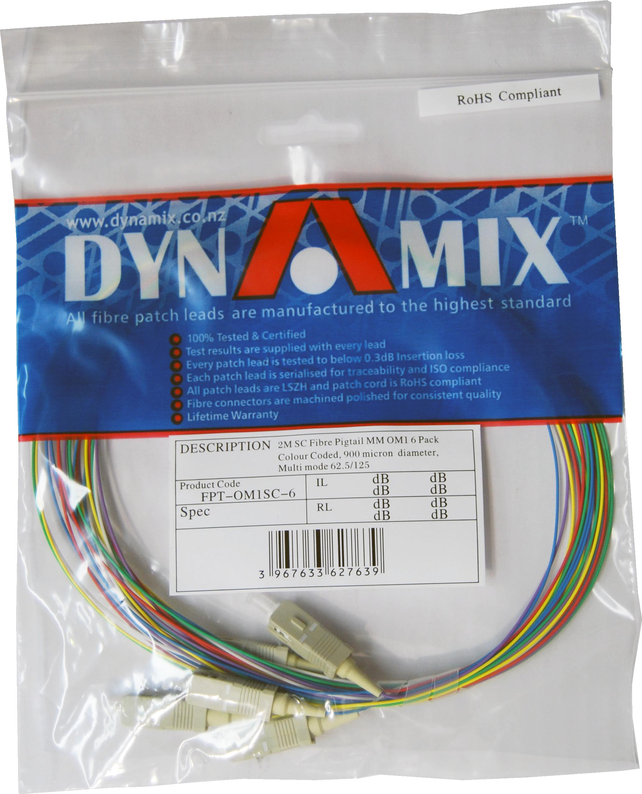 DYNAMIX 2M SC Pigtail OM3 6 Pack Colour Coded, 900um Multimode Fibre, Tight buffer