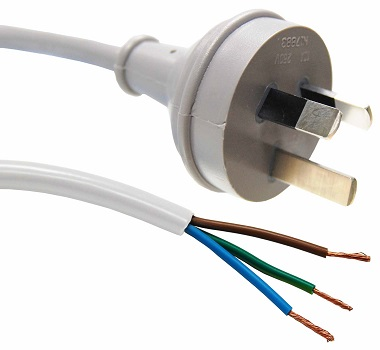 Dynamix 3m 3 Pin Plug to Bare End SAA Approved Power Cord Cable - White